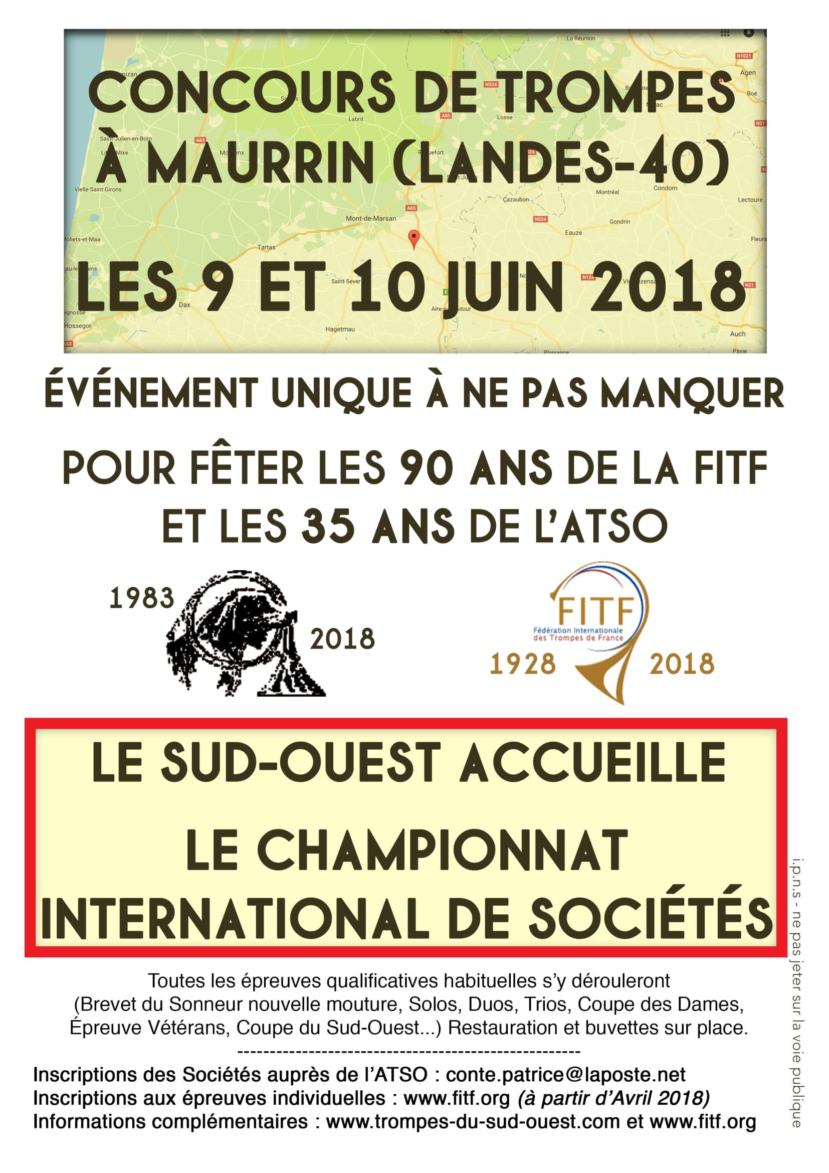 Affiche Festival concours international de sociétés FITF 9 et 10 juin 2018