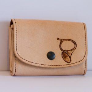 Porte-monnaie souple cuir clair personnalisé