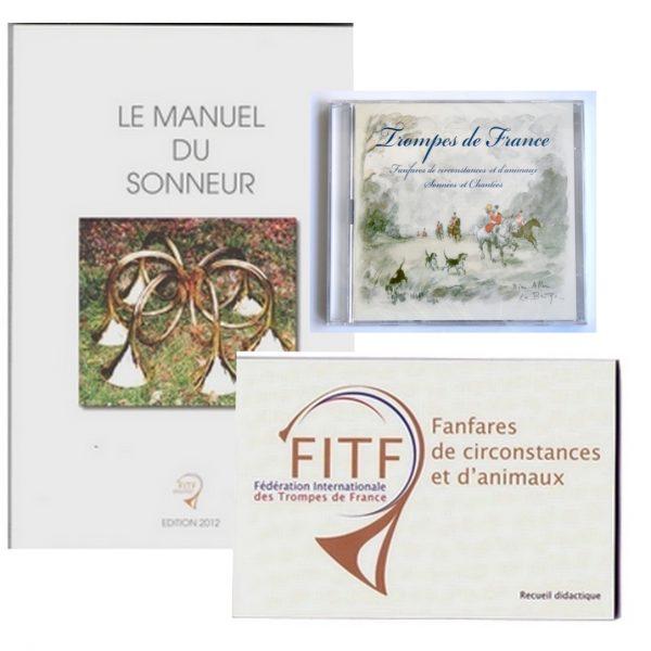 """lot apprentissage FITF deux ouvrages """"mini recueil de fanfares"""" et """"manuel du sonneur"""" et un CD """"fanfares de circonstances et d'animaux sonnées et chantées"""""""